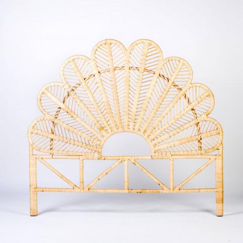 Tête de lit en rotin - Tête de lit 160 cm - Tête de lit en rotin forme fleur - Tête de lit en rotin style bohème