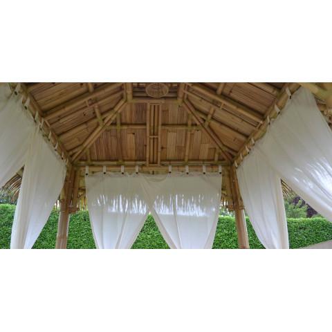 Rideau en cotton pour paillote bambou - rideaux pour gazebo bambou - rideau d'extérieur