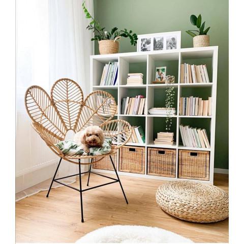 Fauteuil fleur rotin- chaise fleur rotin- fauteuil coquelicot - chaise fleur - fauteuil rotin - chaise en forme de fleur rotin