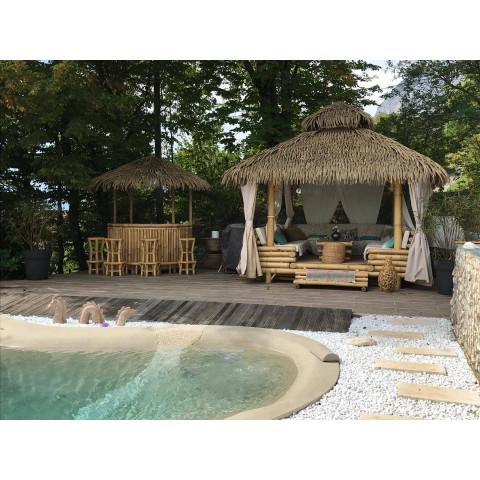 Bar en bambou - Bar exotique - paillote bambou - bar rond en bambou - bar paillote