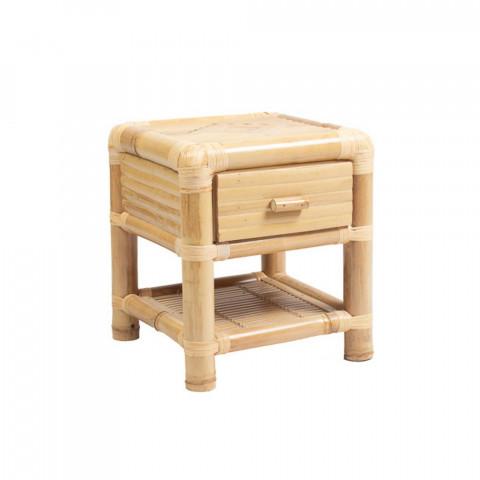 table de chevet - mobilier bambou - bambou - table de chevet artisanale - table bambou
