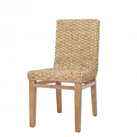Chaise de salon abaca - Chaise salon tressé - Chaise de salon teck