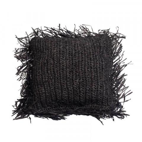 Coussin raphia noir - Coussin tressé en raphia