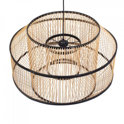 suspension en rotin - suspension chic - luminaire original - suspension  ronde