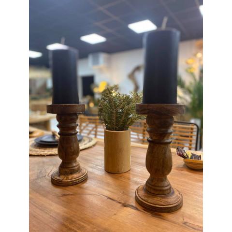 Chandelier en bois , bougeoir en bois de manguier - petit objet de deco