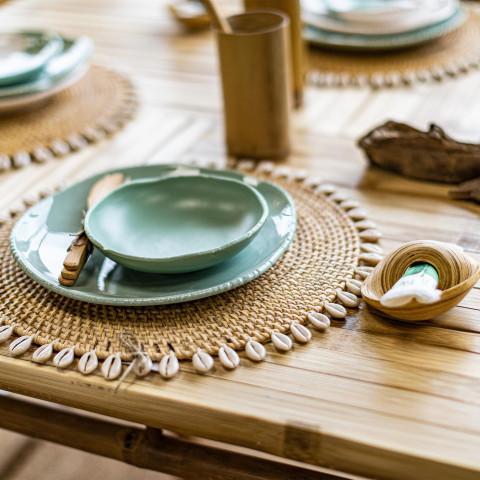 Set de table coquillage et fibres naturelles