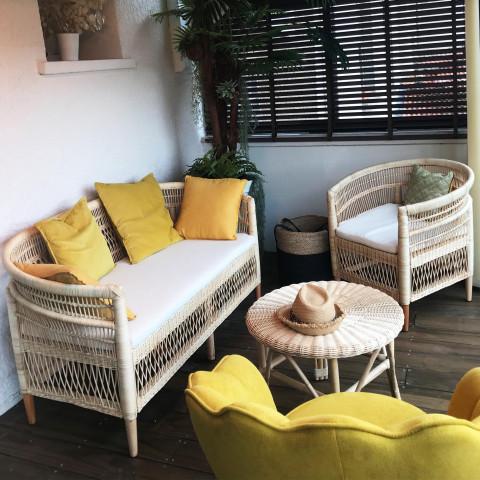 canapé en rotin - banquette en rotin - canapé salon - banquette terrasse - banquette vintage - canapé vintage
