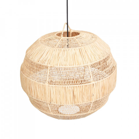 Suspension ronde en raphia naturelle