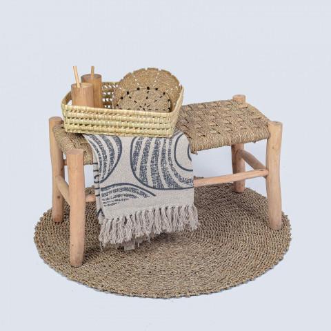 Petit banc marocain en doum et bois