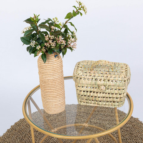 Petit valisette en feuilles de palmier rectangulaire pour vanity