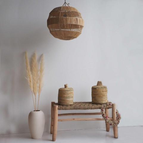 luminaire globe tressé en raphia - luminaire original naturel