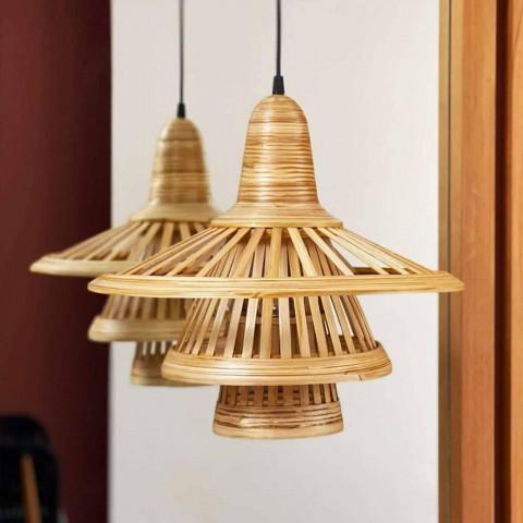Suspension design en bambou naturel atypique