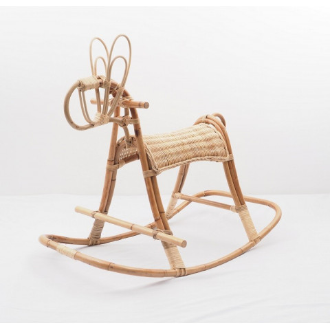 Cheval à bascule en rotin - objet vintage déco pour chambre d'enfant - Hydile la marque naturelle à prix doux.