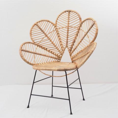 Chaise fleur en rotin et métal - Fauteuil fleur en rotin et métal - Hydile