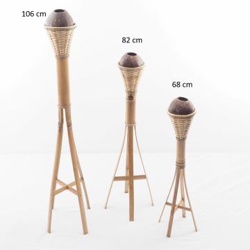 Lampe sur pied à huile en bambou - lampe extérieur - torche bambou - lampe à huile - lampe bambou