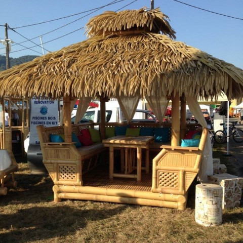 Gazebo en bambou - Paillote en bambou - Salon de Jardin - Palmex - Hydile