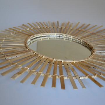 Miroir Ellipse - Miroir bambou - Miroir rotin - miroir xl  - Hydile