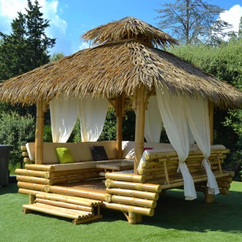 gazebo bambou ou paillote bambou salon de jardin pergola. Black Bedroom Furniture Sets. Home Design Ideas