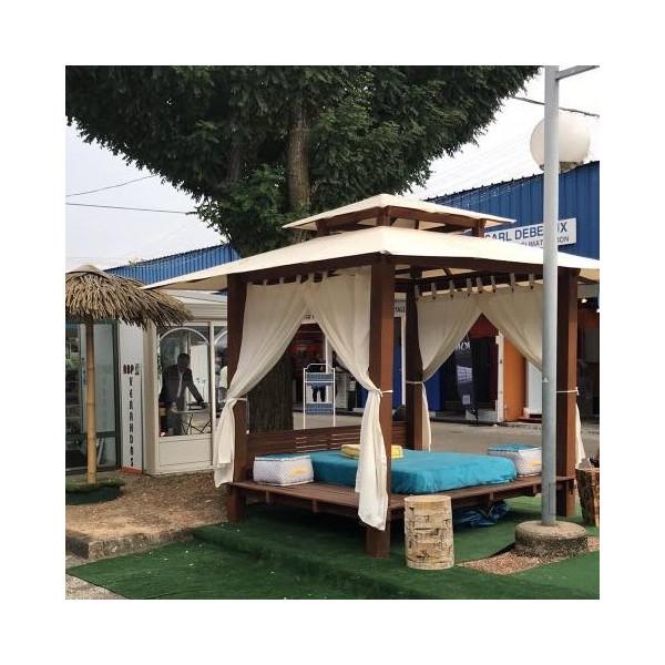 Gazebo bois - Paillote - Paillote en bois Bed - bain de soleil - bed extérieur - bed de de piscine - lit de jardin- Hydile