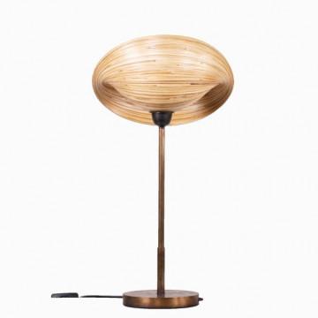 Lampe à poser design - luminaire design - lampe de bureau - lampe métal et bambou