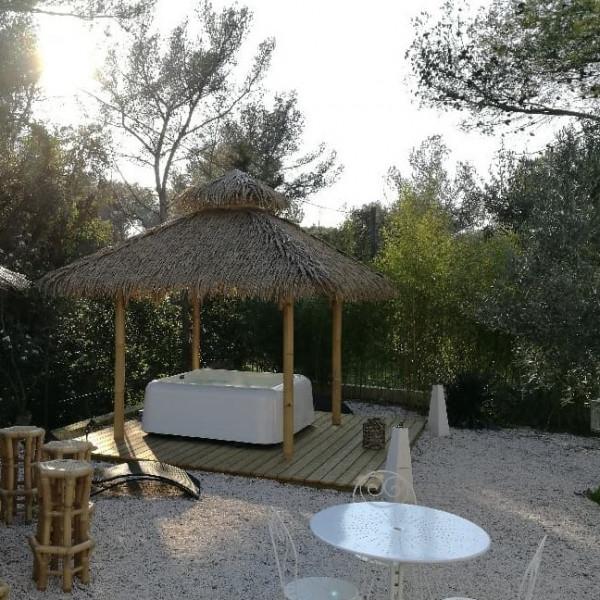abri spa et abri spa bambou pour l'extérieur. le ying est le gazebo