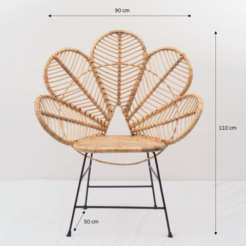 Chaise Coquelicot - chaise fleur - fauteuil fleur - chaise rotin metal - chaise design - Hydile