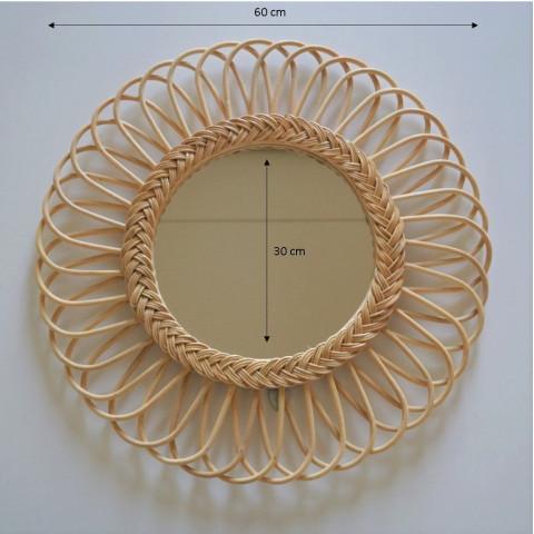 Miroir rotin - Miroir fleur - Miroir mural - miroir rotin grand diamètre - gros miroir - miroir xl