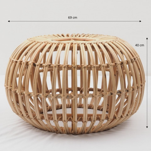 Pour rotin - petit pouf - assise rotin - table basse rotin - table basse ronde rotin