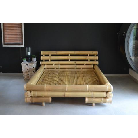 Lit bambou - bambou - lit en bambou - lit en tige de bambou - lit avec sommier à latte bambou - Hydile