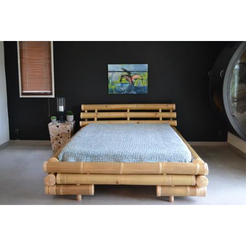 Lit en bambou - Literie bambou - Lit en bambou avec sommier - lit bambou pas cher -lit en tige de bambou
