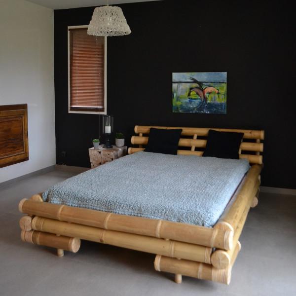 Lit bambou - Lit en bambou - Lit bambou 140*190 -  lit en tige de bambou - lit avec sommier en bambou à latte - Hydile