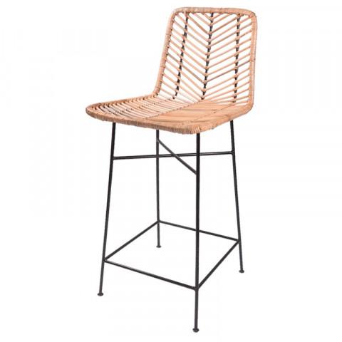 Tabouret de bar en rotin et métal - Chaise de bar rotin et métal - Chaise haute rotin et métal - bar - Hydile