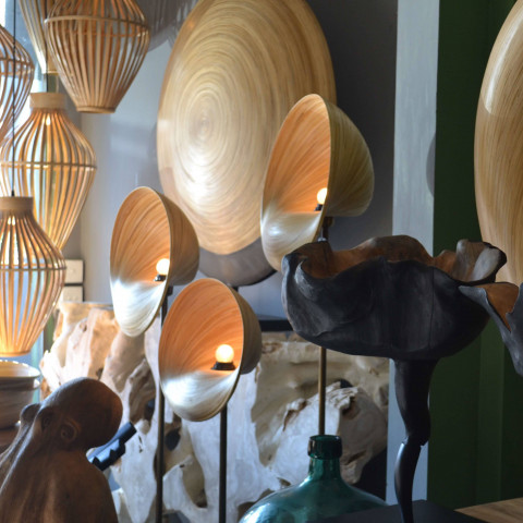 Lampe à poser bambou - lampe à poser design - lampadaire bambou - lampe bambou - Hydile