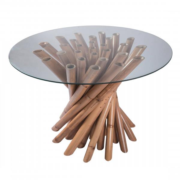 Table Ronde De Salon En Bambou Et En Verre Design Et Tendance Hydile