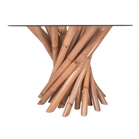 Table bambou - table ronde - table ronde bambou - table avec pied bambou - table avec plateau verre - Hydile