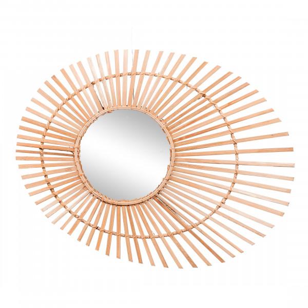 Miroir bambou en forme d'ellipse- Miroir bambou - Miroir rotin - miroir xl- Hydile deco bambou