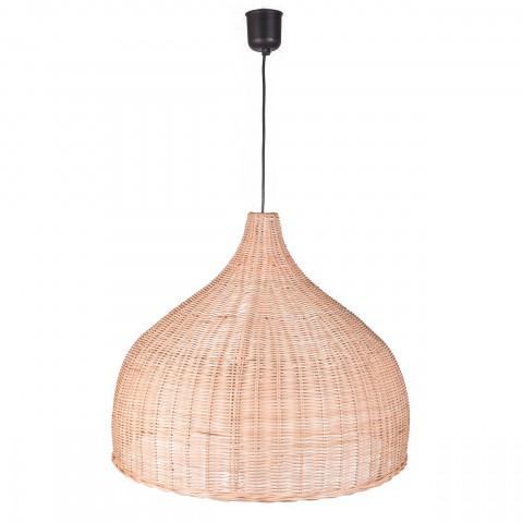 Lustre rotin - lampe rotin - suspension en rotin - suspension ronde rotin - grande lampe pour salon - decoration rotin - Hydile