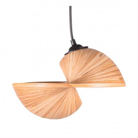 Lampe à suspendre en bambou - Lampe design bambou - suspension bambou - bambou déroulé - lampe coquillage - Hydile