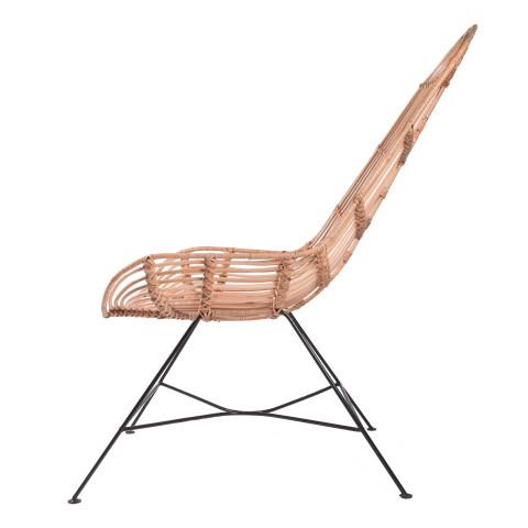 Fauteuil en rotin et métal - fauteuil design - assise en rotin - fauteuil extérieur rotin - Hydile mobilier extérieur
