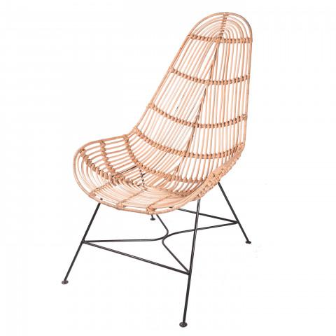 Fauteuil en rotin et métal - fauteuil créateur - fauteuil design - assise en rotin - fauteuil extérieur rotin - Hydile