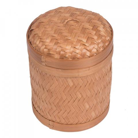Petite corbeille bambou - corbeille avec couvercle bambou - poubelle bambou - corbeille salle de bain bambou - hydile