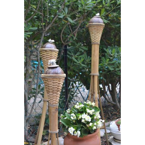 Lampe torche bambou - lampe à huile - lampe bambou - luminaire bambou - coco - lampe à planter -
