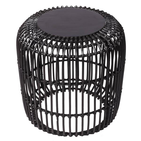 Table basse en rotin - table basse en rotin noir - table de salon en rotin - table avec plateau en bois - hydile