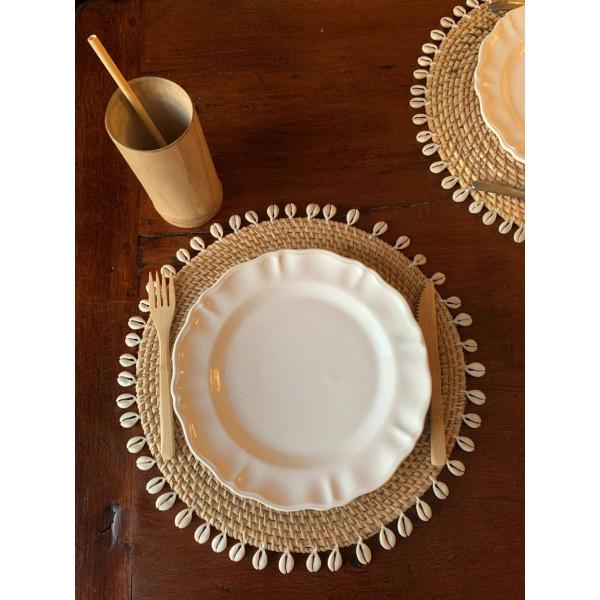 SET DE TABLE rond en rotin et coquillage D10