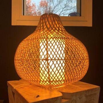 Lampadaire en rotin - luminaire en rotin - suspension en rotin -