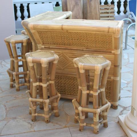 bar en bambou - bar bambou - bar paillote - bar d'angle bambou - comptoir bambou
