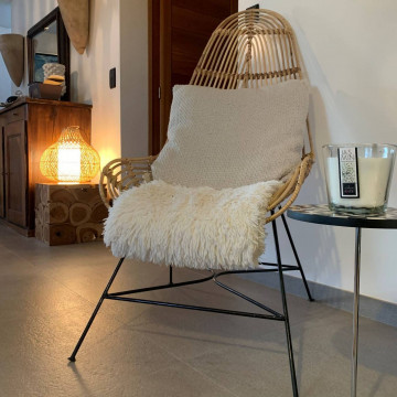Fauteuil rotin et métal - fauteuil allongé - chaise longue - fauteuil métal - chaise métal - chaise rotin