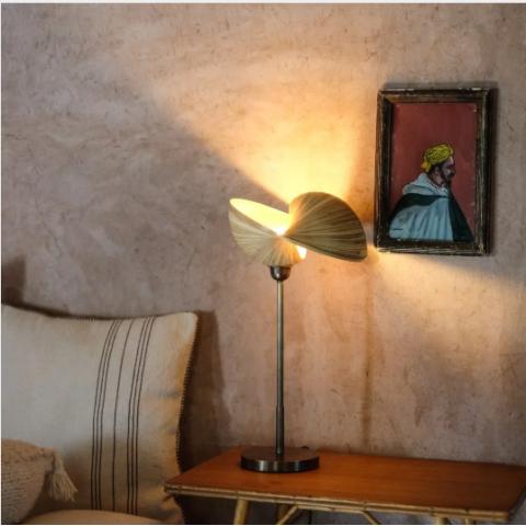 Lampe coquillage bambou - Lampe à poser bambou - lampe à poser métal - lampe de chevet - lampe de bureau - lampadaire