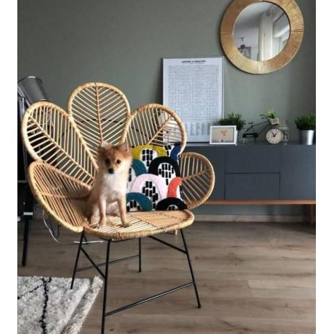 Fauteuil fleur rotin - fauteuil fleur en rotin- fauteuil Coquelicot - siège rotin - chaise rotin - chaise fleur rotin