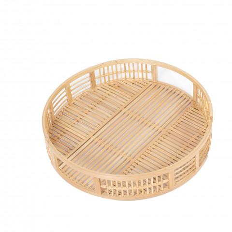 Plateau rond en bambou - plateau rond en bambou tressé - accessoire de cuisine bambou - plateau bambou - plateau rond cuisine